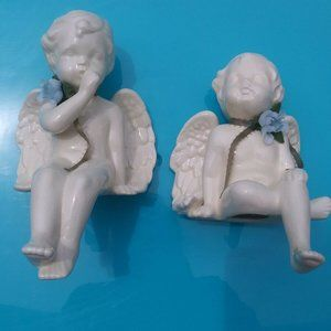 Ceramic Angel Pair Shelf Sitters Vintage